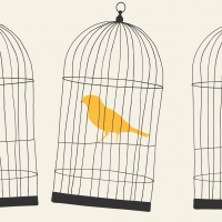 Hand-drawn illustration of birds in cages